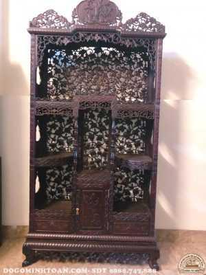 Tủ gỗ trưng bày đồ cổ đục mai dắt mẫu
