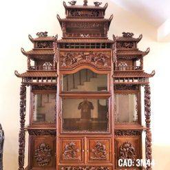Tủ chùa 9 mái trầu rồng gỗ gụ