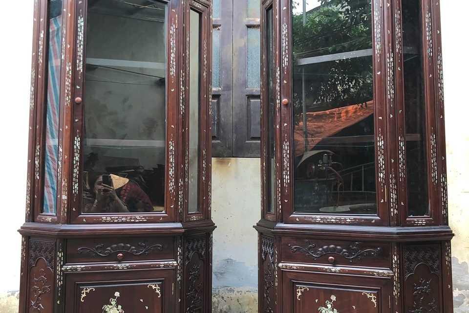 Tủ góc gỗ gụ khảm ốc