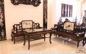 Bàn ghế Phương kỷ mặt đá gỗ gụ