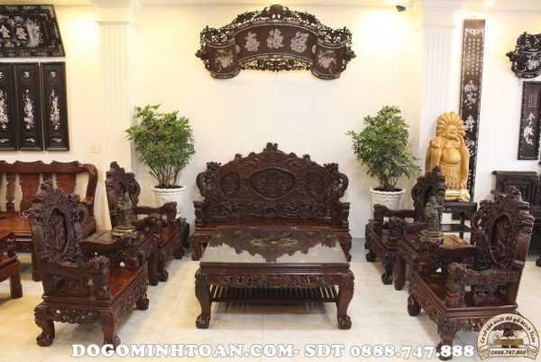 Bộ bàn ghế Rồng đỉnh gỗ gụ