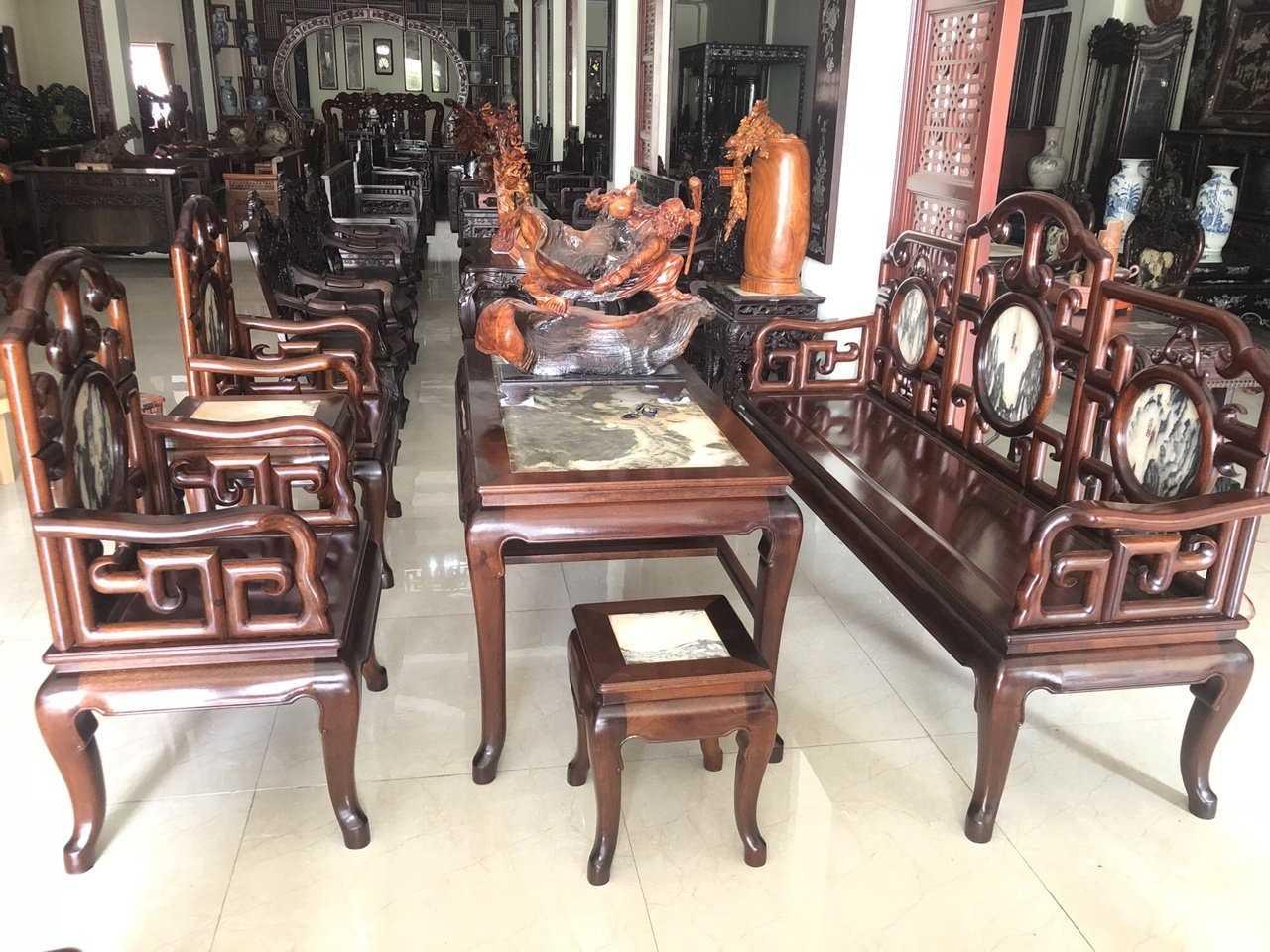 Bàn ghế móc mỏ gỗ gụ 6 món cỡ đại