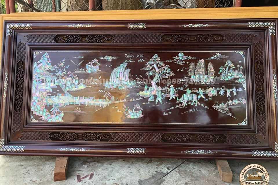 Tranh Vinh Quy Bái Tổ mẫu tvq01 được khảm ốc singapo,, gỗ gụ hàng chọn