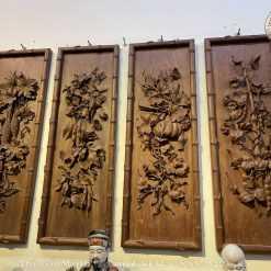 tranh tứ quý gỗ gụ